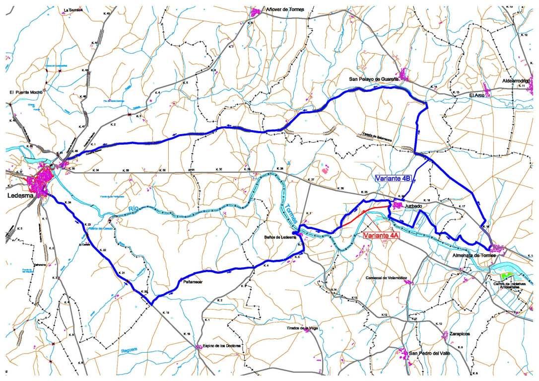 plano con el trazado de la ruta nº 4, ruta del Tormes del centro btt de Ledesma